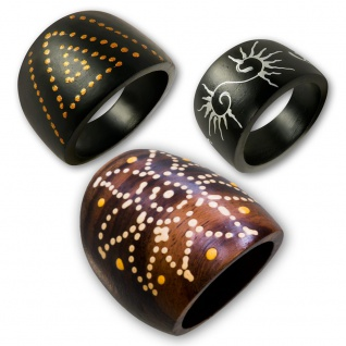Damen Holz Ring Handbemalt tribal blumen blüten muster holzringe naturschmuck bh