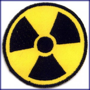 Aufnäher Radioaktiv symbol strahlung x-ray radioactive a-bomb patch aufbügler