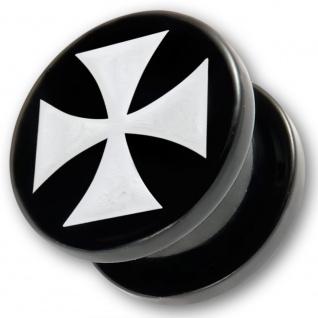 Acryl Plug Flesh Tunnel Schwarz Double Flared Eisernes Kreuz Weiß 3-4mm