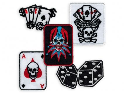 Aufnäher Poker Pik Ass Spielkarten Joker patch gambling würfel hot rod aufbügler