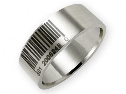 Strichcode Edelstahl Band Ring Barcode Herren Damen Mode Schmuck