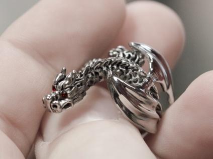 Drachen Ring Edelstahl Strass Kristall dragon silber damen mädchen schmuck - Vorschau 4