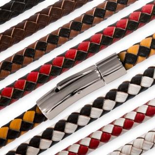 Halskette Choker Armband geflochten veganes Leder Design-Verschluss Edelstahl