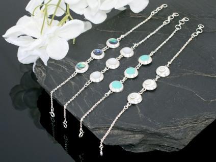 Silberarmband Damen Armkette Silber mit Stein Shiva Auge Paua Schmuck schmal