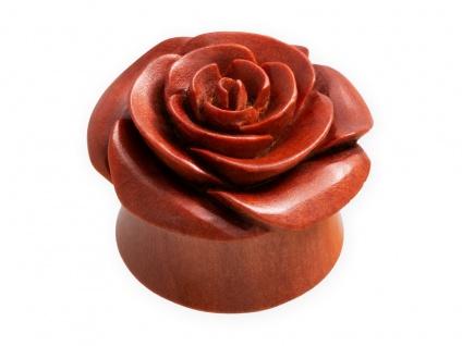 Holz Ohr Plug Rose Flesh Tunnel Motiv Piercing Plugs braun 4-30 mm