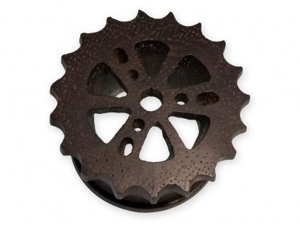 Zahnrad Flesh Tunnel Holz Piercing Plug Steam Punk Design Zahnkranz 10 - 28 mm