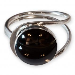 Fly Style Damen Finger-Ring Stein Onyx Optik Silber 925 Spirale risi026_schwarz