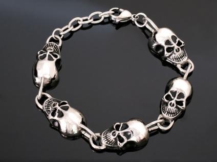Edelstahl Totenkopf Armband Armkette Herren Schmuck Totenschädel Skull silber