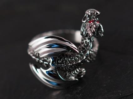 Drachen Ring Edelstahl Strass Kristall dragon silber damen mädchen schmuck - Vorschau 3