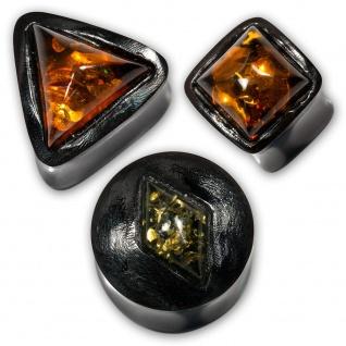 Bernstein Horn Ohr Plug piercing tunnel dreieckig viereckig raute piercing amber