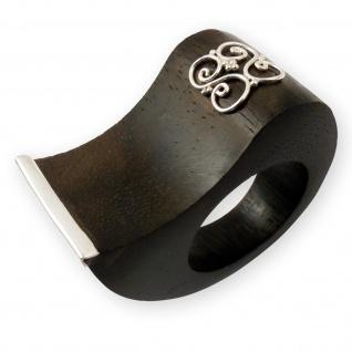 Designer Ebenholz Silber Damen Ring natur schmuck handarbeit holzringe boho holz
