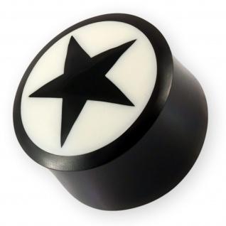 Horn Plug Stern Flesh Tunnel Star Ohr Piercing Schmuck schwarz weiß 6-22 mm