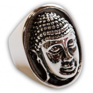 Buddha Ring Edelstahl massiv Siegelring Damen Herren Kopf Mode Schmuck Om Yoga