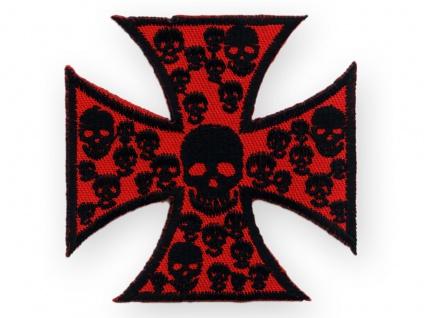 Aufnäher Eisernes Kreuz iron cross schädel skulls death metal patch aufbügler