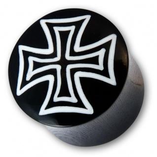 Horn Plug Eisernes Kreuz iron cross piercing schmuck bone knochen flesh tunnel