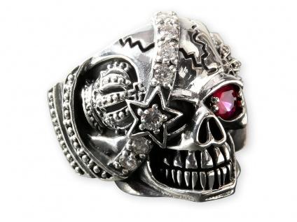 Piraten Ring Totenkopfring Edelstahl Ring Skull Biker Herrenring silber Zirkonia