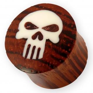 Blut Holz Plug Skull Totenkopf Knochen Punisher marvil biker punk flesh tunnel