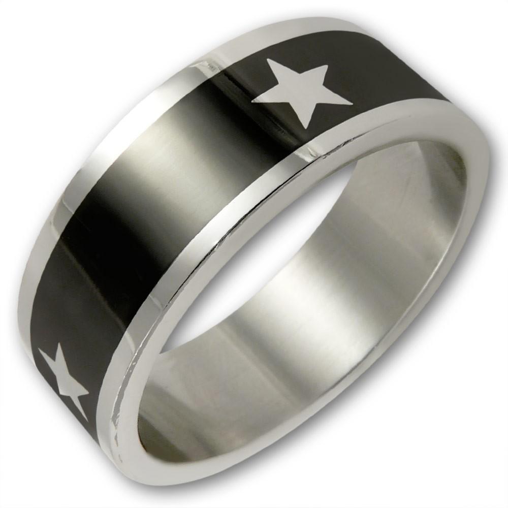edelstahl ring white star schwarz silber sterne mode. Black Bedroom Furniture Sets. Home Design Ideas