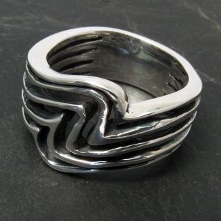 925 Silber Designer Damen Ring Wellen surfer ethno schmuck boho tribal maori goa - Vorschau 2