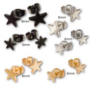 Ohrstecker Edelstahl Spirale Sterne Ohrringe Ohrschmuck silber schwarz gold. - Vorschau 3