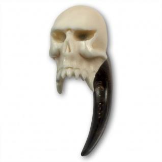 Horn Vampire Skull Plug expander dehnungssichel piercing taper tunnel totenkopf
