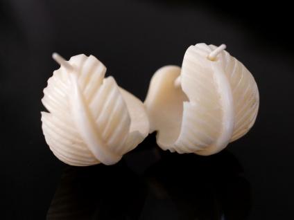 Feder Ohrringe aus Knochen Creolen Schmuck Federohrringe Federn rund weiß klein