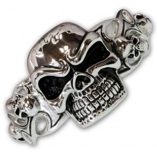 XL Skull Edelstahl Armreif armband silber biker harley herren schmuck totenkopf