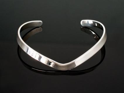 Silber Armreif klassisch Damen Armspange Herz Armband 925 schmal offen