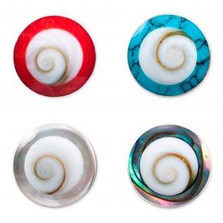 Shiva Auge Muschel Ohrstecker Schnecke Spirale Kugel 8 mm Ohrringe 925er Silber