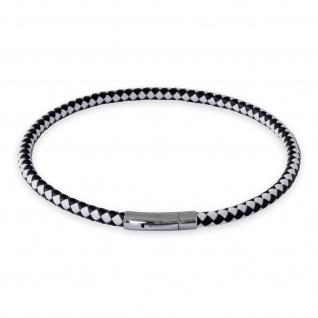 Lederkette Schwarz Weiss Halskette Armband geflochten mit Verschluss Damen Herren 18-70 cm nest011_black-white