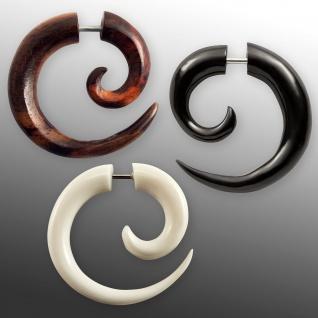 Fake Piercing Spirale Horn Knochen Holz Sichel Ohrring schwarz weiss Tunnel Plug