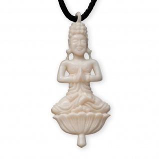 Kettenanhänger meditierender Buddha im Lotussitz Knochen Yoga Anhänger Schmuck