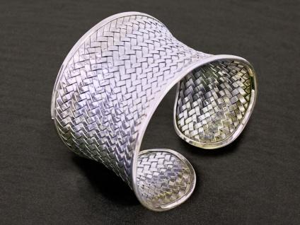 925 Silber Armreif Armband Flechtmuster Schmuck Armspange offen geflochten