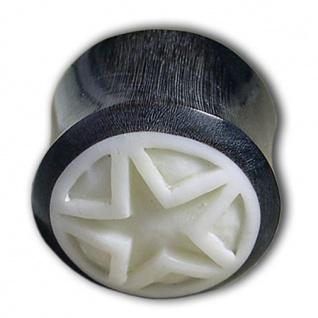 Horn Plug mit geschnitztem Stern aus Knochen