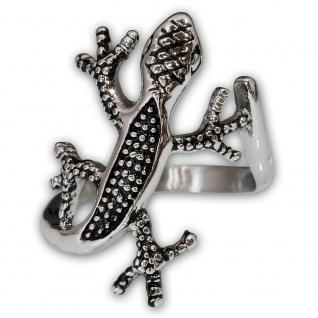 Salamander Ring Edelstahl filigran Damen Mode Schmuck Accessoire Gecko Eidechse