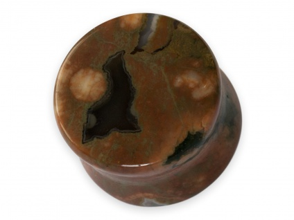 Flesh Tunnel Ohr Plug Rhyolith Stein Piercing braun 5-25 mm