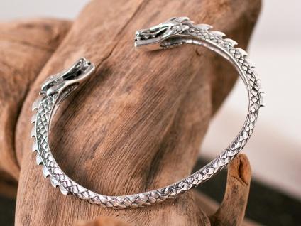 Armreifen 925 Silber Drachen Drachenkopf Herren Damen Armschmuck Armband offen