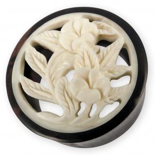 Holz Flesh Tunnel Blumen Blüten Flower Ohr Plug Tube Piercing weiß 14-30mm Ethno