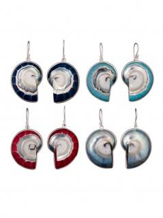 Damen Nautilus-Muschel Ohrringe Ohrhänger echt Silber (Farbauswahl) earsi022