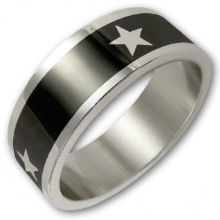 Edelstahl Ring White Star schwarz silber sterne mode schmuck damen herren 80er