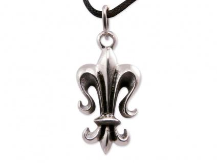 Kettenanhänger Edelstahl Fleur De Lys Amulett Kette Halskette Ritterlilie