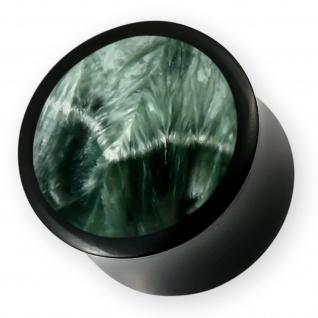 Horn Plug Seraphinit grün klinochlor edelstein flesh tunnel perlmutt stein stone