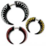 Horn Fake Piercing Expander Tribal Spirale sichel holz bone zebra getigert punk