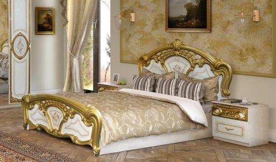 Bett 180x200cm Rozza weiß gold Italien Klassik Barock Design