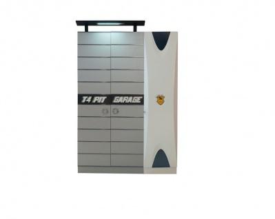 Kleiderschrank 3-t?rig Garage in Grau Wei?