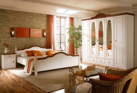 Schlafzimmer Verra Landhausstil Pinie weiß massiv Absetzung Nußb