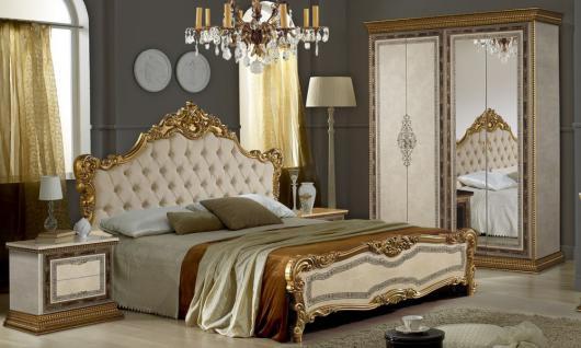 Schlafzimmer Jenny in beige Gold Luxus Edel italienisch 4tlg