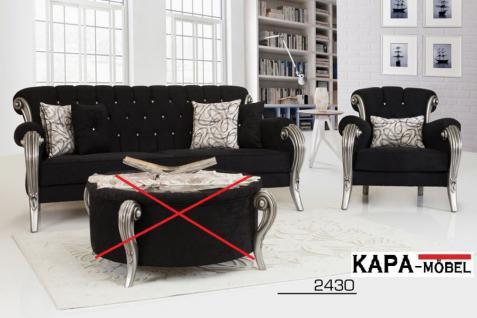 Sofa Couch Set Kübra schwarz glänzend Barock Garnitur