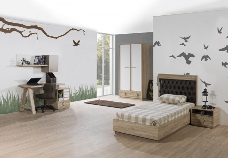 Kinderzimmer ALFA Bett 100x200 cm natur braun weiss Jugendzimmer