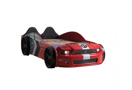 Autobett Muscle in Rot Ink Lattenrost mit LED Scheinwerfer